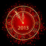 Red and gold New Year clock. Illustration of red and gold New Year clock royalty free illustration