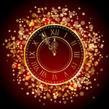 Red and gold New Year clock. Vector red and gold New Year clock vector illustration