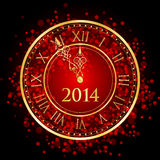 Red and gold New Year clock. Vector illustration of red and gold New Year clock Stock Photos