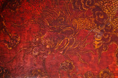 Red and gold old dragon picture in Chinese drawing style. The dragon is consider a god of fortune in Asian culture stock photography