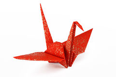 Red and Gold Origami Crane Bird. Beautiful red and gold Origami crane bird on white background stock photography