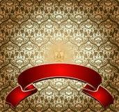 Red On Gold Ornate Banner stock illustration