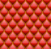Red with Gold Quilted Leather Seamless Background Royalty Free Stock Images