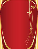 Red and gold ribbon background. Red background with gold bows Royalty Free Illustration