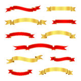 Red and gold ribbon banners. Vintage scrolls. Vector illustration. stock illustration