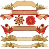 Red and gold ribbon and bow. Stock Photos