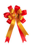 Red and gold ribbon bow Stock Photography