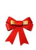 Red and gold ribbon isolated on white, clipping path. Stock Image