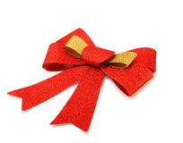 Red and gold ribbon isolated on white, clipping path. Stock Images