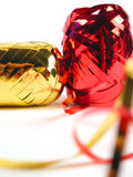 Red and gold ribbons. Close-up of ribbons (shallow DOF Stock Photography