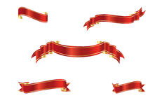 Red and gold ribbons Stock Image