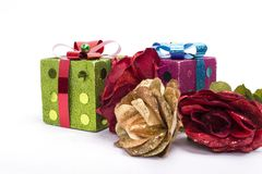 Red and gold roses with glitter boxes Royalty Free Stock Photo
