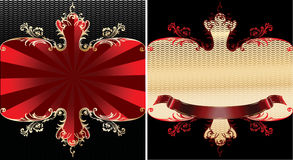 Red And Gold Royal Ornate Banner. Royalty Free Stock Photo