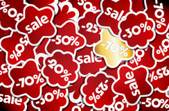 Red and gold sale stickers. Royalty Free Stock Photo