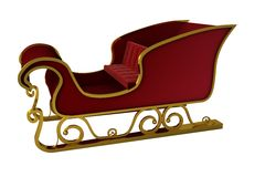 Red and gold santa sleigh Stock Photos