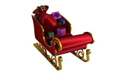 Red and gold santa sleigh Royalty Free Stock Photography