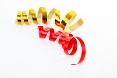 Red and gold satin ribbon Royalty Free Stock Image