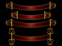 Red and gold scroll banners Royalty Free Stock Photography