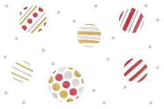 Red gold and silver glitter christmas balls paper cut on white background. Isolated royalty free stock photography