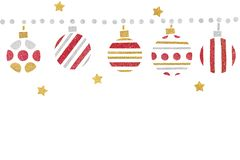 Red gold and silver glitter christmas balls paper cut on white background. Isolated stock photo