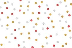 Red gold and silver glitter confetti paper cut on white background stock images