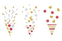 Red gold and silver glitter party popper paper cut on white background royalty free stock photo