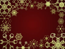 Red and gold snow frame. Frame made of decorative vector retro snowflakes Stock Photo