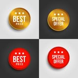 Red and gold special offer and best price banners with shadow on white and dark background. vector illustration