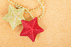 Red and gold star gliter decoration for christmas. Stock Images