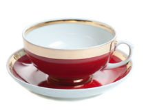Red with gold teacup Stock Images
