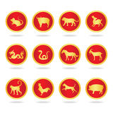 Red and gold twenty seven constellations  in circle  - vector design Royalty Free Stock Photos