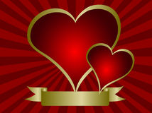 Red and Gold Valentines Hearts Stock Photo
