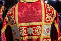 Red and Gold Vestments for Holy Week. Red and gold vestments used during Holy Week in Seville, Spain royalty free stock photos