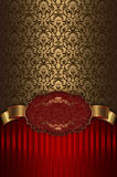 Red and gold vintage background with frame. Stock Photography