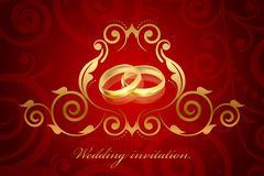 Red and gold wedding invitation Stock Photography