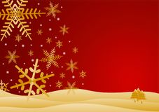 Red and gold winter scene. Snowflakes falling on hills - warm Stock Images