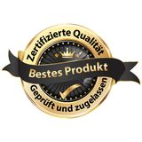 Best product on the market - black and golden award ribbon designed for the German retail market. Red and golden award badge with text in German. Text Stock Photo