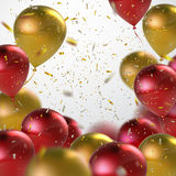 Red And Golden Balloon Bunch. Stock Image