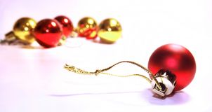 Red and Golden Christmas and New Years balls ornaments decoration Royalty Free Stock Photography