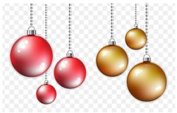 Red and golden balls with silver chain. Christmas and new year style.  on transparent background. Vector Illustration Stock Images