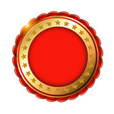 Red Golden blank label with stars. Stock Image