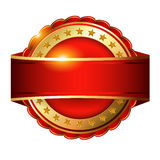 Red Golden blank label with stars. Royalty Free Stock Image