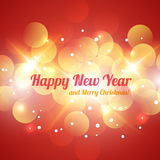 Red and Golden Bokeh Abstract Light Background. Happy New Year and Merry Christmas. Red and Golden Bokeh Abstract Light Background. Vector Illustration for Royalty Free Stock Photography