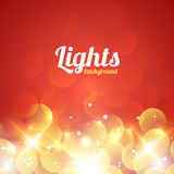 Red and Golden Bokeh Abstract Light Background. Vector Illustration Stock Photography