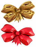 Red and golden bow. Isolated on white background Stock Photo