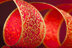 Red and golden bow Royalty Free Stock Photo