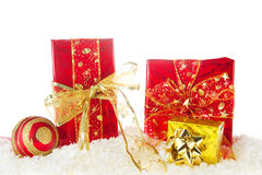 Red and golden Christmas Stock Photos