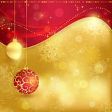 Red golden Christmas background with baubles stock illustration