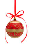 Red-golden christmas ball isolated on white stock image