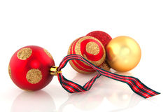 Red and golden christmas balls Stock Photos